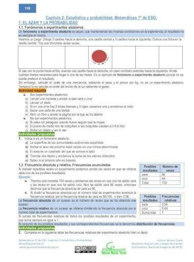 Capítulo 2 Estadística Y Probabilidad Matemáticas 1º Eso Nos Dice Que La Probabilidad