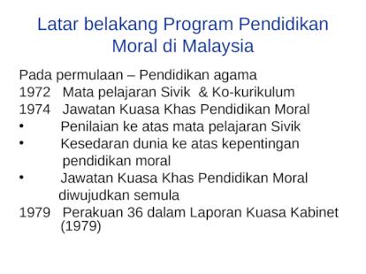 Latar Belakang Faktor Pendidikan Moral Di Malaysia