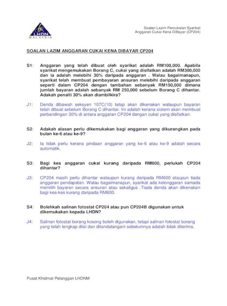 Soalan Lazim Anggaran Cukai Kena Dibayar Cp204 S1