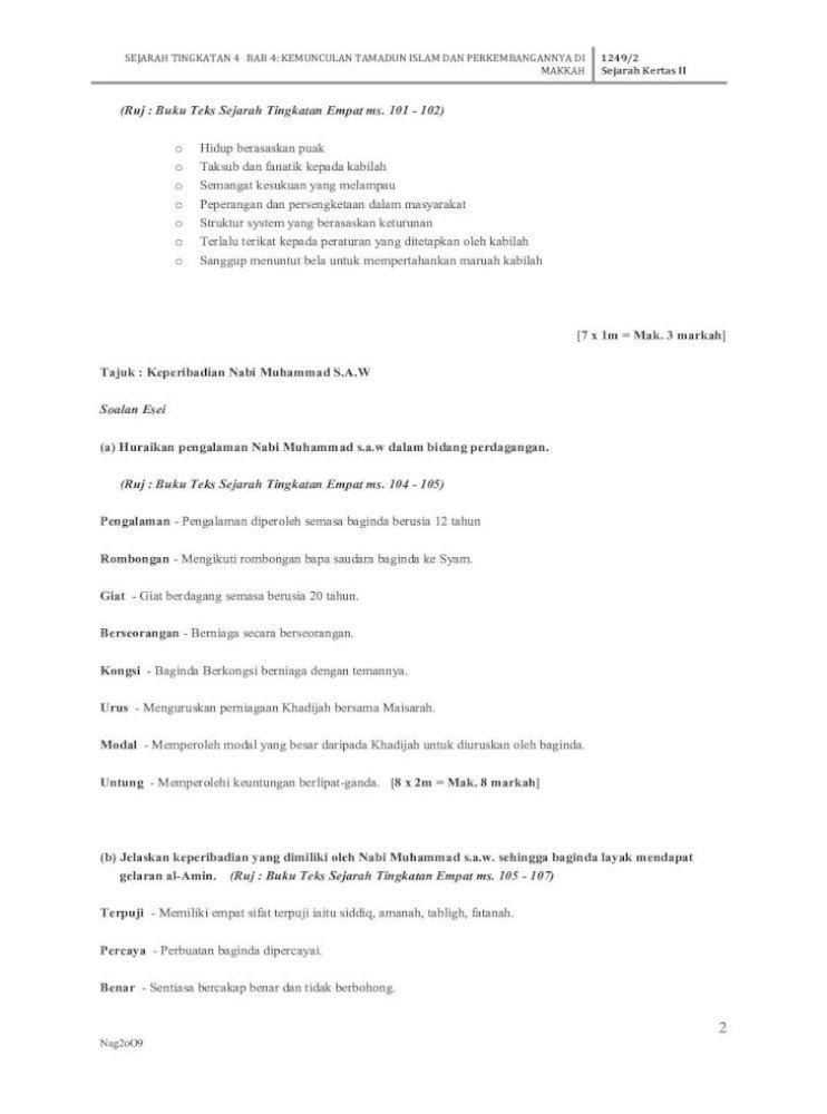 Soalan Dan Jawapan Bab 4 Kemunculan Tamadun Islam Dan Sejarah Tingkatan 4 Bab 4 Kemunculan Tamadun Islam Dan Perkembangannya Di Makkah 1249 2 Sejarah Kertas Ii 1 Nag2oo9