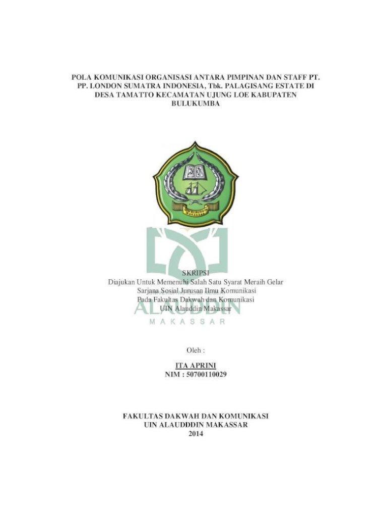 Pola Komunikasi Organisasi Antara Pimpinan Dan Aprini Pola Komunikasi Organisasi Antara
