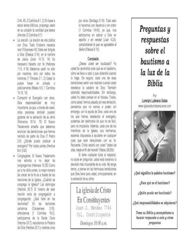 Que Significa La Palabra Bautismo Iglesia De Cristo Cabo En Las Distintas Reuniones De