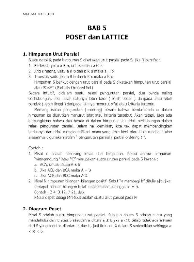 Bab 5 Poset Dan Lattice Staffsite Stmik Ppkia Pradnya Penyelesaian Diagram Diberikan 24