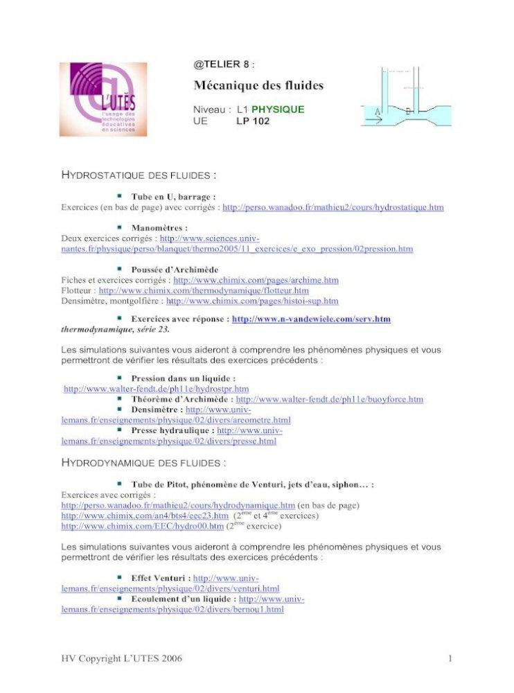 Niveau L1 Physique Ue Lp 102 Lutes Upmc Telier8 Telier 8 Mcanique Des Fluides Niveau L1 Physique Ue Lp 102 Hydrostatique Des Fluides Tube En U Barrage Exercices En